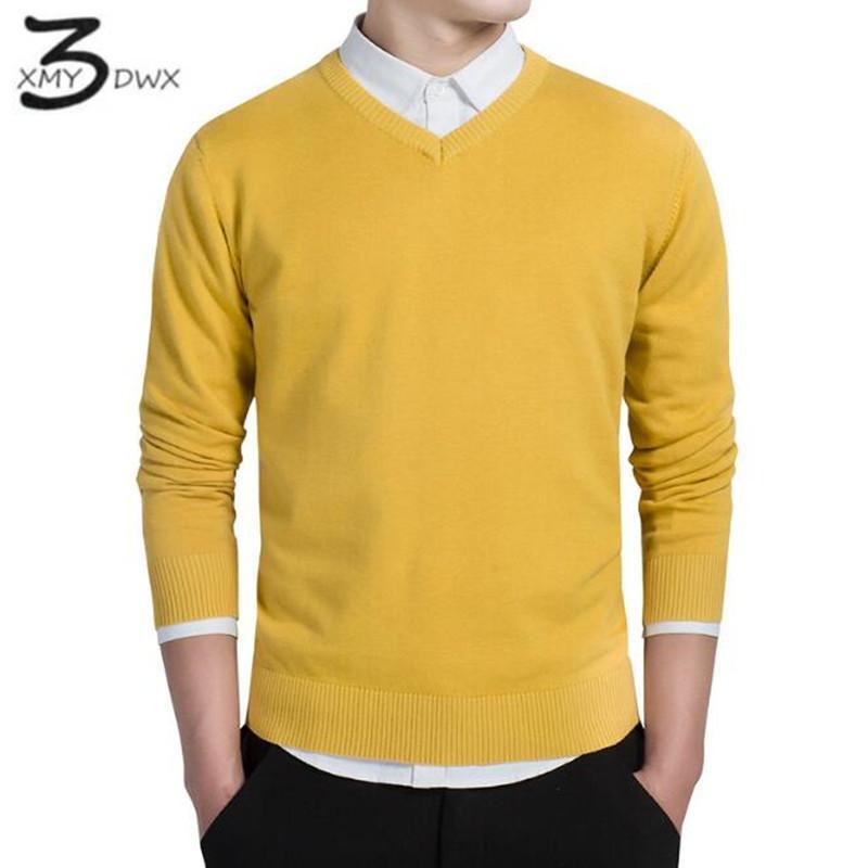 Wholesale- XMY3DWX stylish men fall slim Fit v-neck sweater/Male  brand leisure Set head knit shirt/Large size knitted sweater XXXL