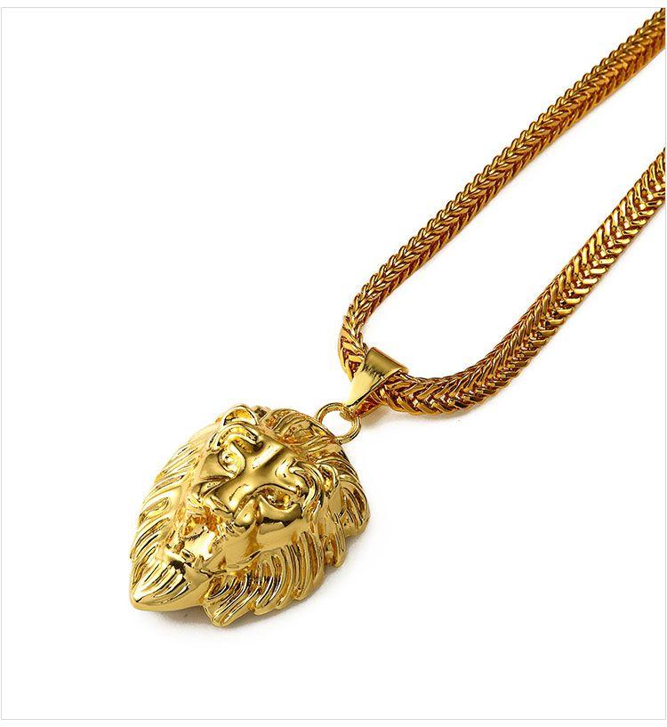 04 hip hop golden lion head pendant necklace
