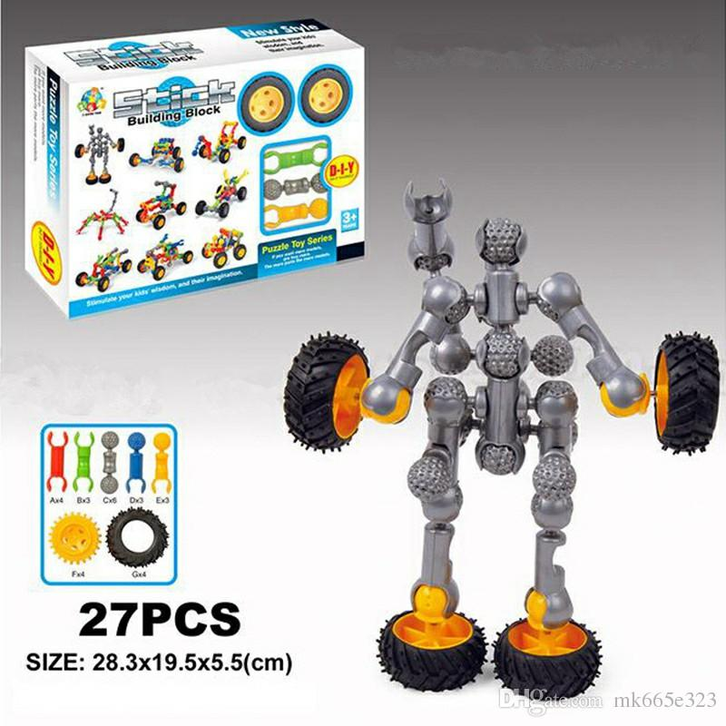 Stick Building Block Sets 27pcs Car Robot Assembly & Disentanglement Block Puzzle Toy Ages 3+ Preschool Educational Kids Toys