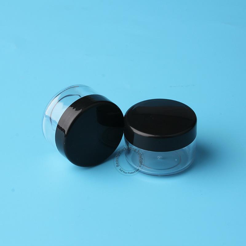 20pcs / lot Promotion 15g Crème Visage Récipient Contenant Pour Fard À Paupières Poudre Vial 1 / 2OZ Rechargeable Noir Mini Cap Emballage