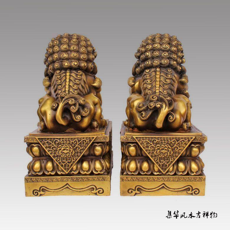 Antique Excellent Chine Old Bronze Sculpté Foo Chien Foo Lion Porte Vieux Knocker
