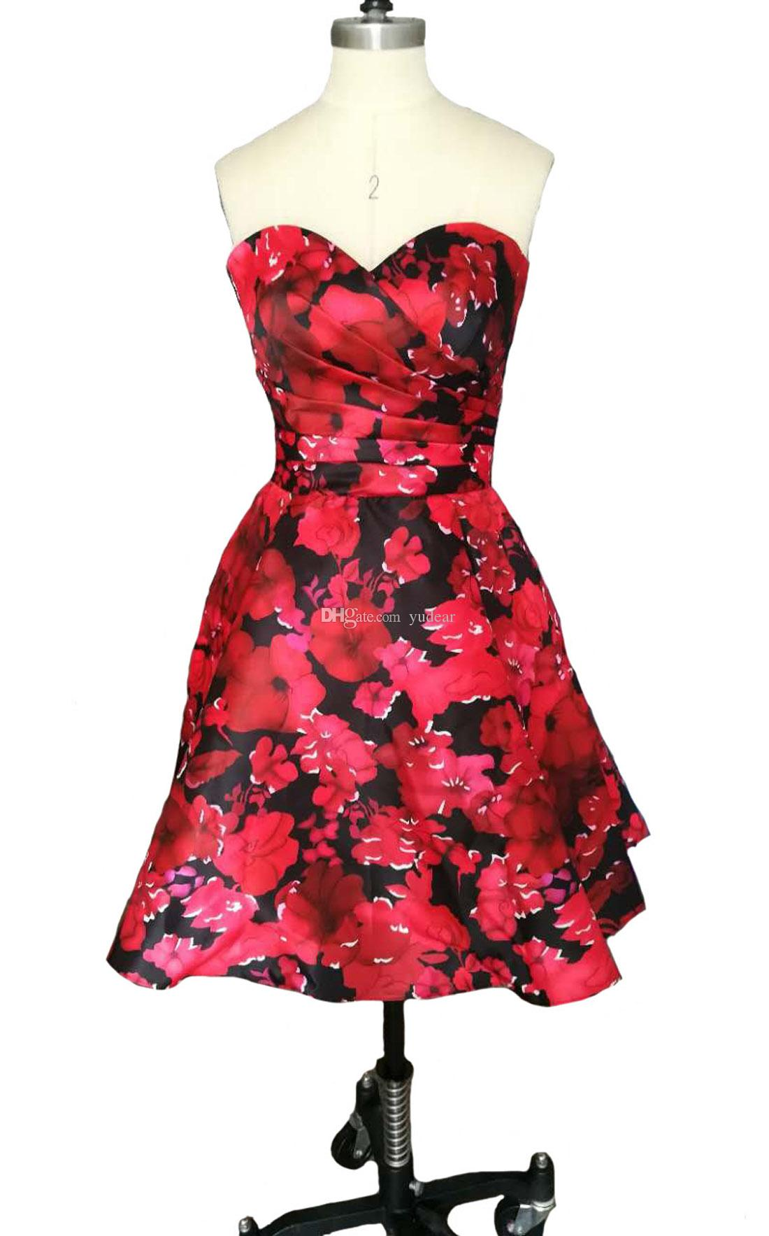 2019 Sweetheart A-line Women Homecoming Gowns Short Floral Printed Satin Skirts Cocktail Dresses Hot Open Back Draped Ruched Dress for Prom