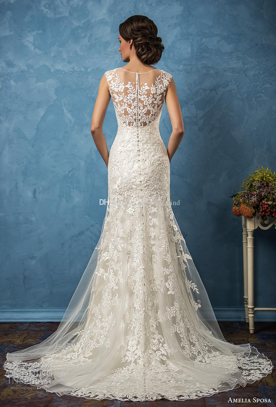 Full Embellishment Mermaid Lace Wedding Dresses 2017 Amelia Sposa ...