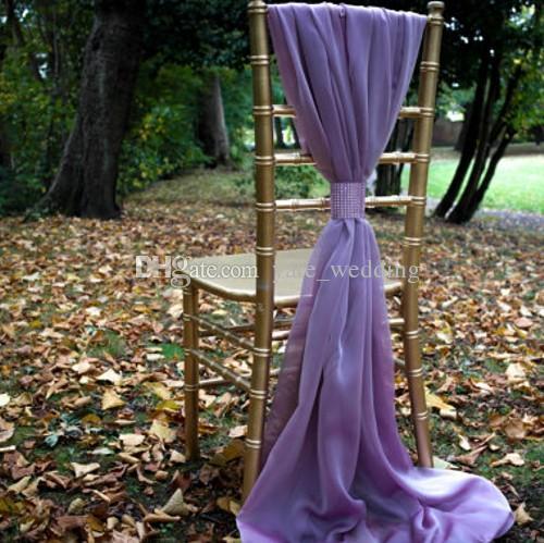 아이보리 화이트 Flowy 쉬폰 웨딩 의자 띠 맞춤 제작 축하 생일 파티 이벤트 장식 의자 활 의자 75 * 200cm 커버