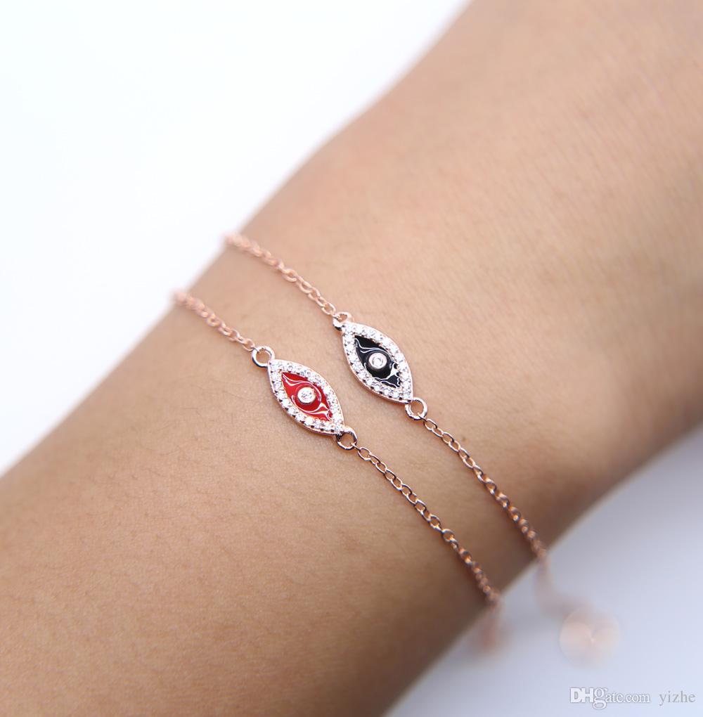 16+5cm dainty delicate black red enamel micro pave cz cute eye shape evil eye charm connector 925 sterling silver eye bracelet