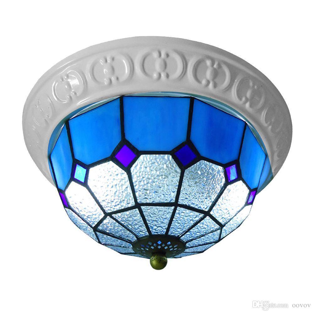 OOVOV Mediterranean Tiffany Glass Ceiling Light 13 E27 Bedroom Kitchen Entrance مصباح الممر شرفة مصباح السقف