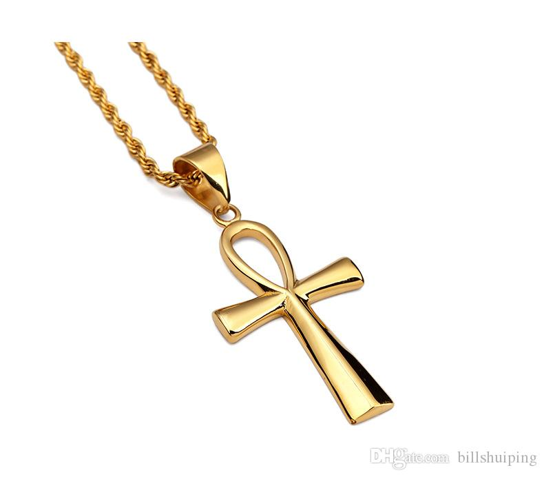 Cross Classic Acero inoxidable Hombres Plazados Colgantes Cadenas de oro Silver Christian Vintage Hombres Collares Envío gratis Latin Oluuu
