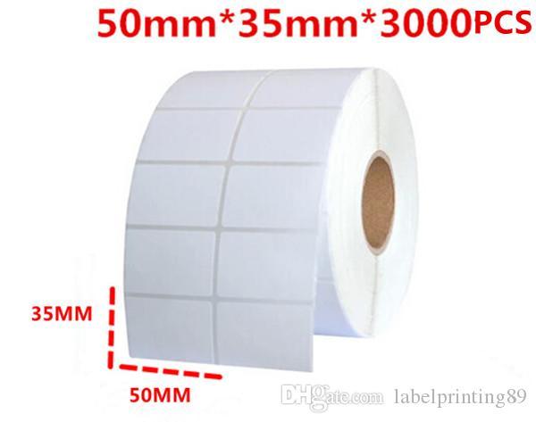 50 * 35mm 3000 pcs / rouleau blanc ou blanc livraison gratuite papier de bureau bar code auto-adhésif autocollant étiquette pour imprimante