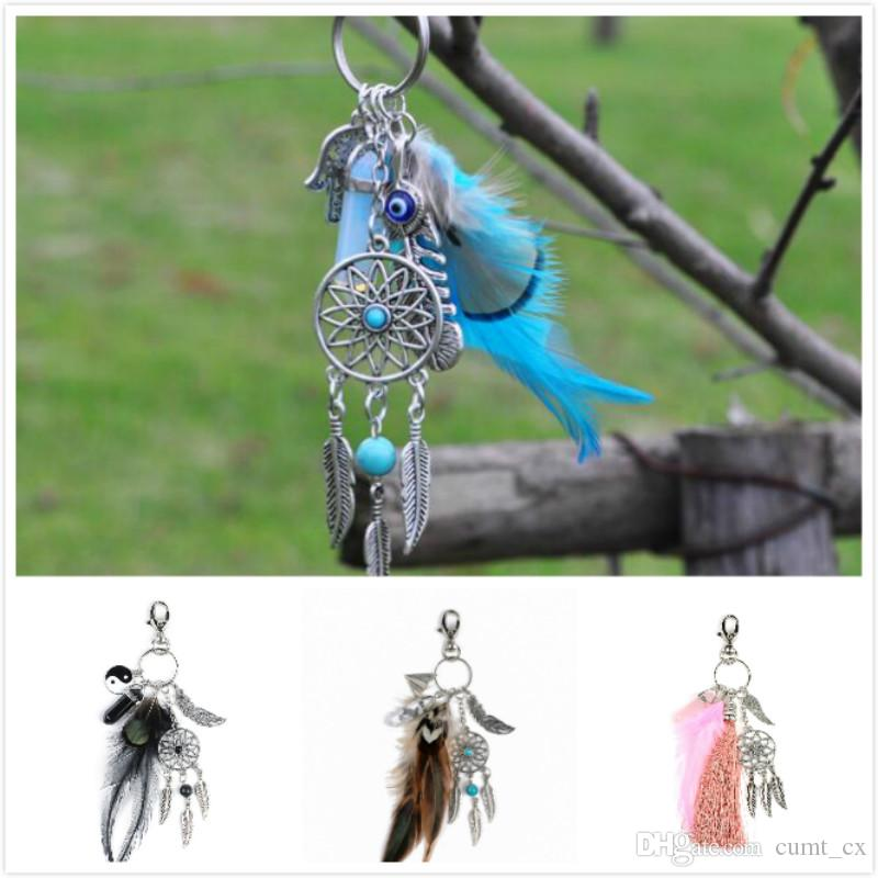 Natural opal stone dreamcatcher keyring fashion silver boho jewelry feather keychain for women 2016 spring free shipping