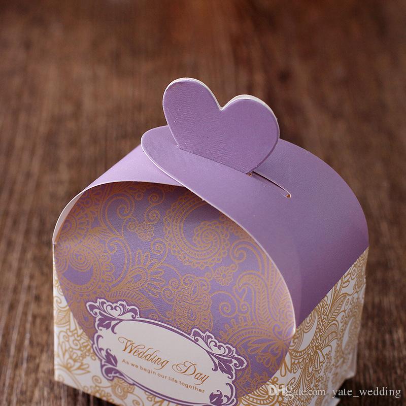 Caselle di caramella di cerimonia nuziale più economiche Casella di bombarda della carta di gradi della menta del rettangolo della menta porpora per i regali in magazzino