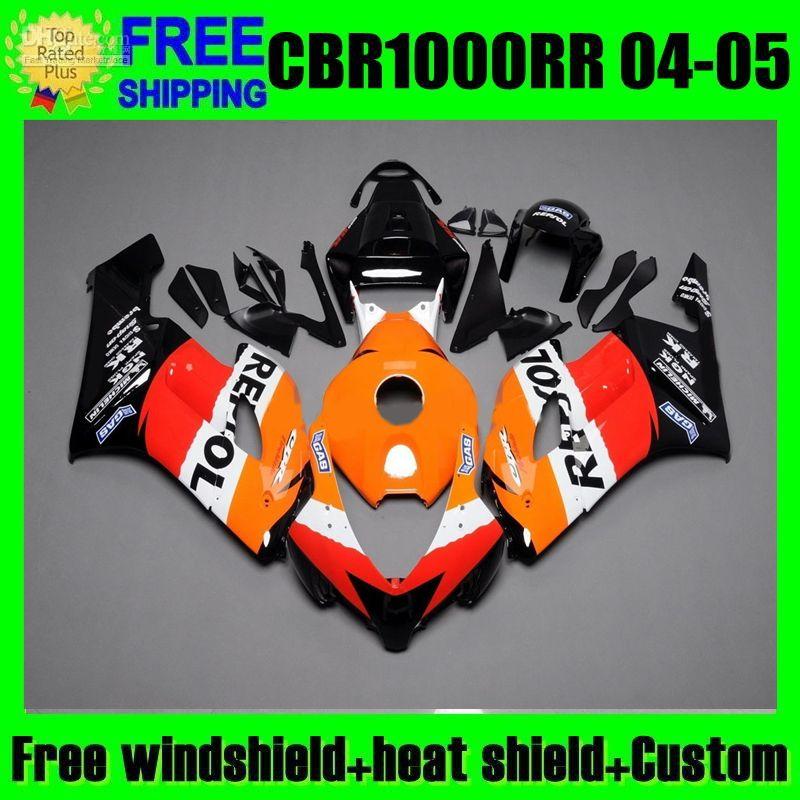 Repsol Orange 2Gifts + Tank Verkleidung für HONDA 04 05 CBR1000 RR MP135 CBR 1000 2004 2005 CBR1000RR Rot schwarz 1000RR 100% Spritzgusskörper