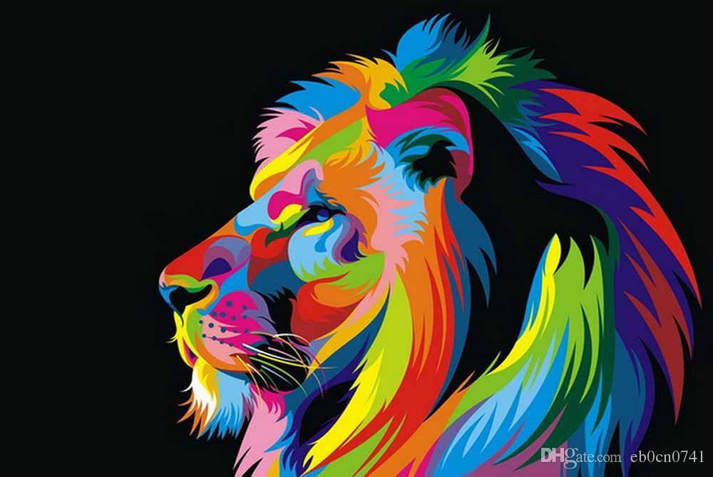 ¡Envío gratis! Pinturas al óleo Lienzo Abstracto León Animales coloridos Arte de la pared Decoración para el hogar Imágenes de la pared Cuadros para la sala