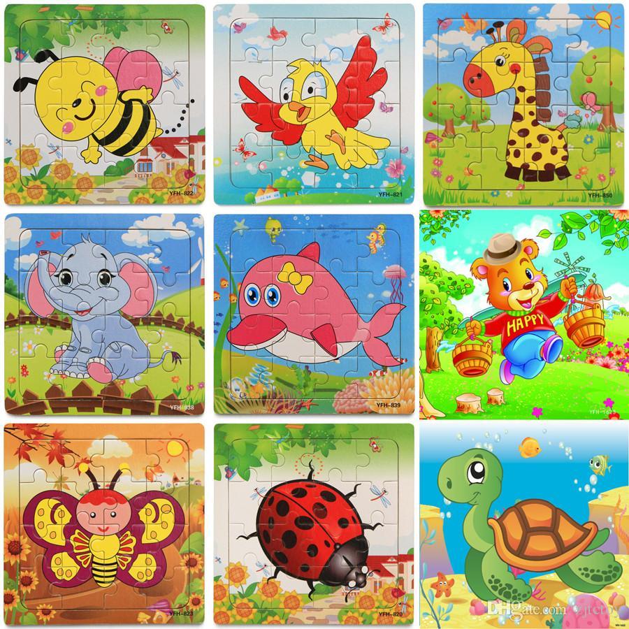 купить оптом новые деревянные 16 штук Jigsaw Puzzle детский сад детские игрушки дети животные дерево 3d пазлы дети строительство блоки смешные игры