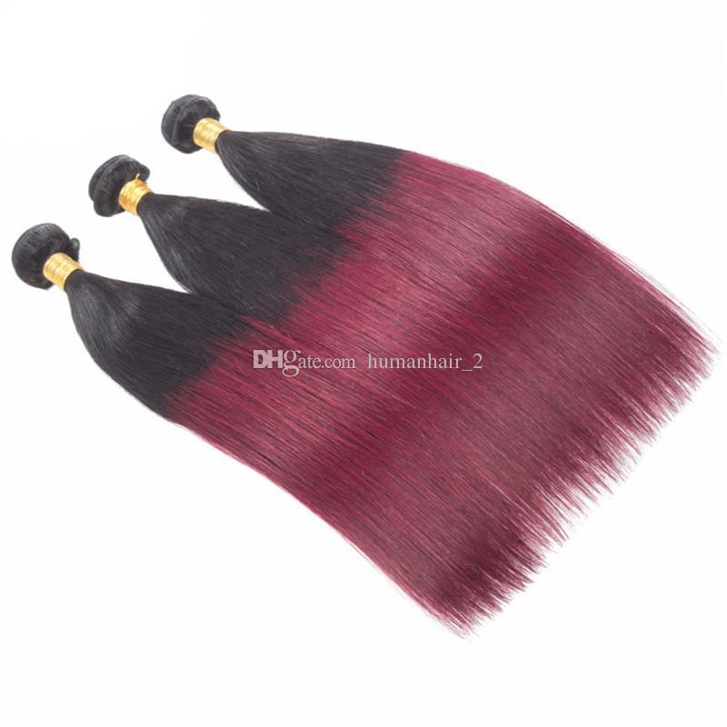 Zwei Ton Ombre Menschenhaar 1b 99j Burgunder Gerade Haar Bündelt 3Pcs / lot Weinrot Ombre Brasilianische Gerade Jungfrau Haarverlängerungen