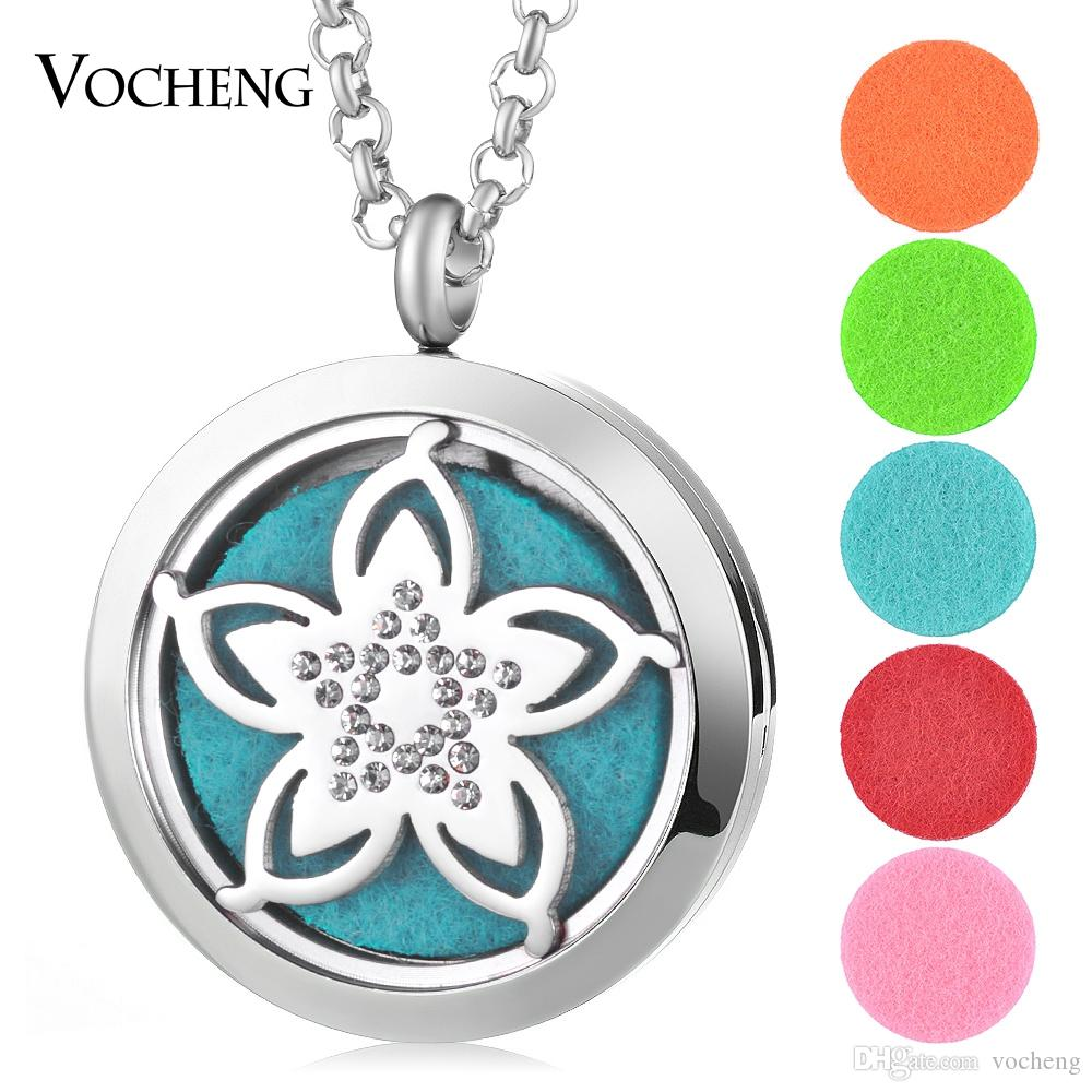 silver color Crystal Flower (30mm) Aromatherapy / Essential Oils surgical 316L S.Steel Perfume Diffuser Locket Necklace VA-456