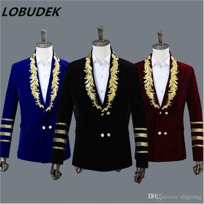 Nouveau mâle veste manteau hommes chanteur hôte costumes de scène équipe danse bal performance usure 3 couleurs broderie blazer de Noël spectacle vêtements