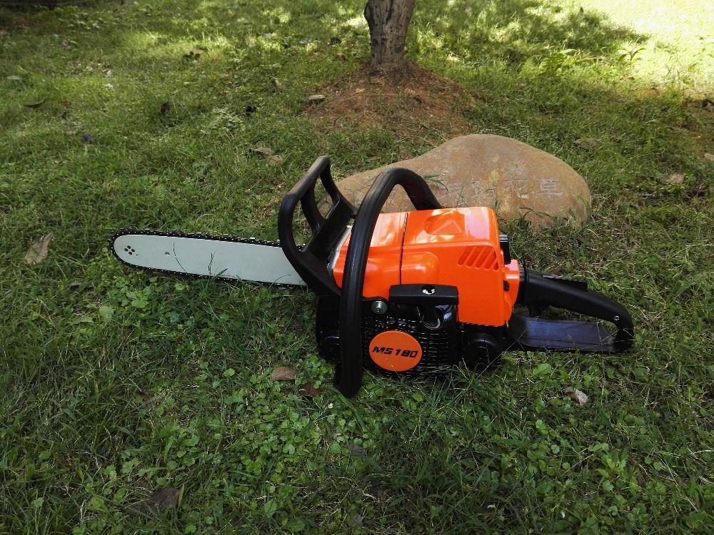 "orange color MS180 chain saw with 16""bar gasoline chainsaw sold cheaper price brand new"