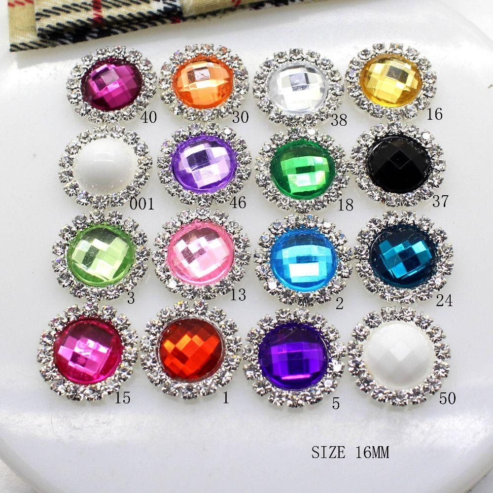100pcs/lot 16mm Round Silver Metal Rhinestone Button With Acrylic Center Wedding Hair Embellishments DIY Accessory Decor
