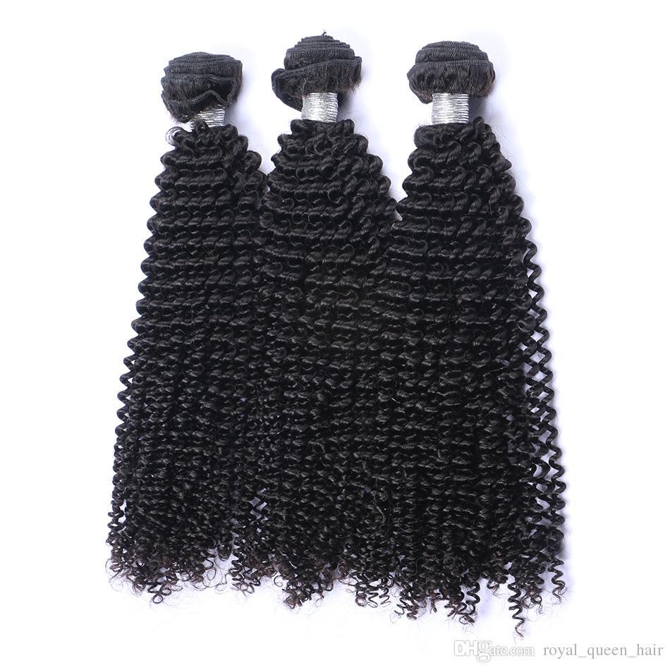 Moğol Sapıkça Kıvırcık Bakire Saç Örgü Demetleri Işlenmemiş Afro Kinky Kıvırcık Moğol Remy İnsan Saç Uzatma 3 Adet Lot Doğal renk