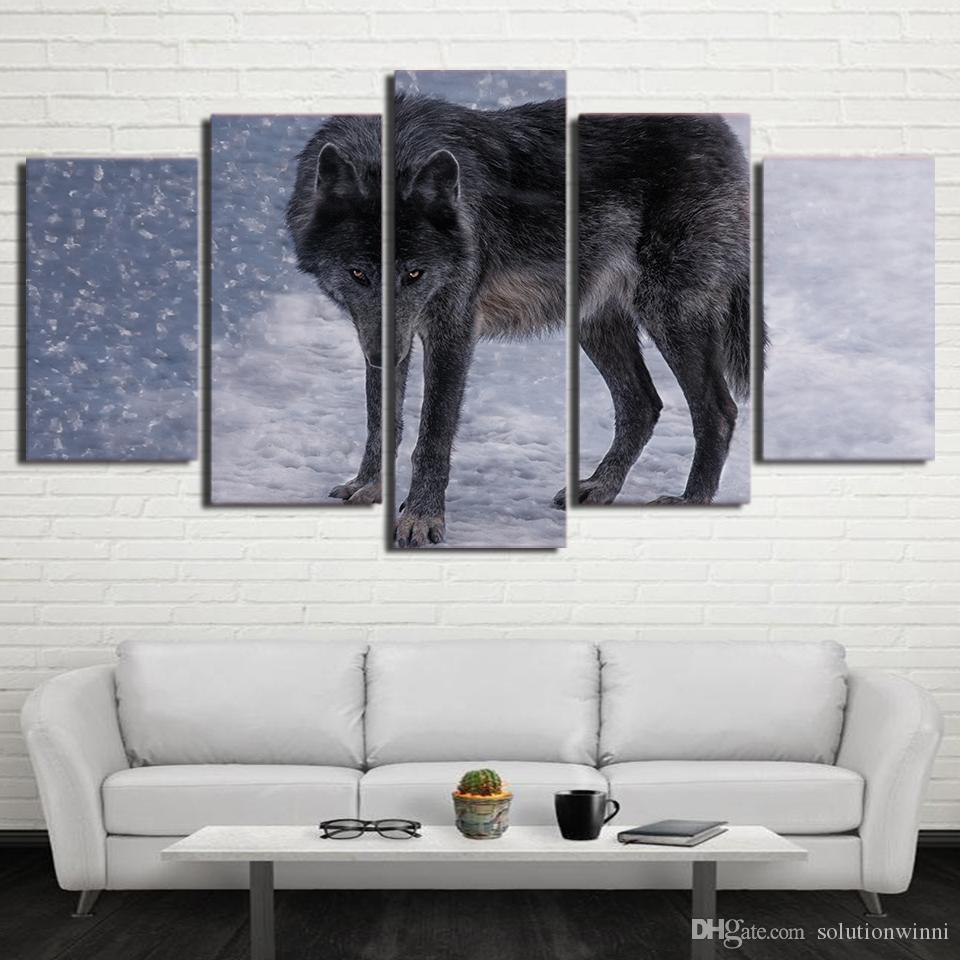 5 Pcs/Set Framed Printed Red Eyes Snow Wolf Painting Poster Home Wall Decor Canvas Picture Art HD Print Painting Artworks