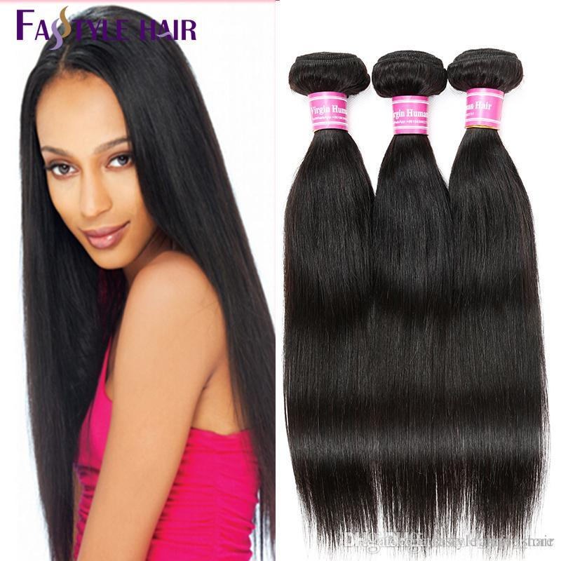 Fastyle Peruvian Straight Hair Extensions 5pcs/lot Double Weft Brazilian Malaysian Indian Unprocessed Virgin Hair Bundles Free Shipping