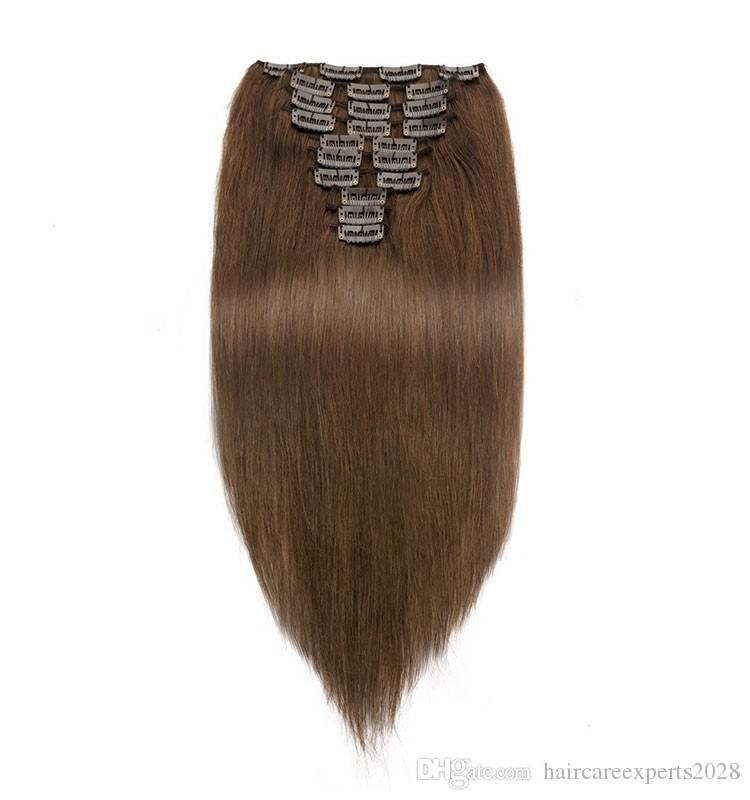 Popular 7A clip in hair extensions 7pieces 120g #8 #4 brazilian human remy hair extensions