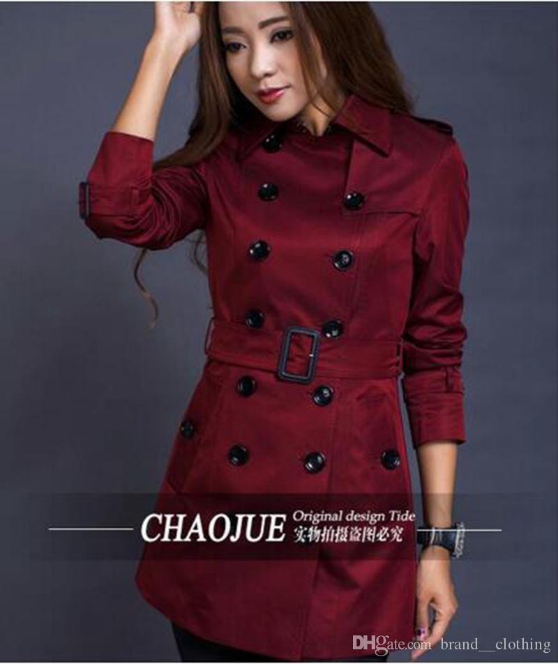 La donna il periodo primaverile e autunnale e l'elegante trench coat in elegante stile han per coltivare la propria moralità / S-4XL