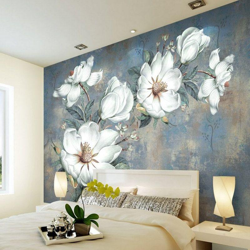 사용자 정의 꽃 벽지 3D, 레트로 로즈 벽화 거실 침실 TV 배경 벽 방수 Papel de Parede