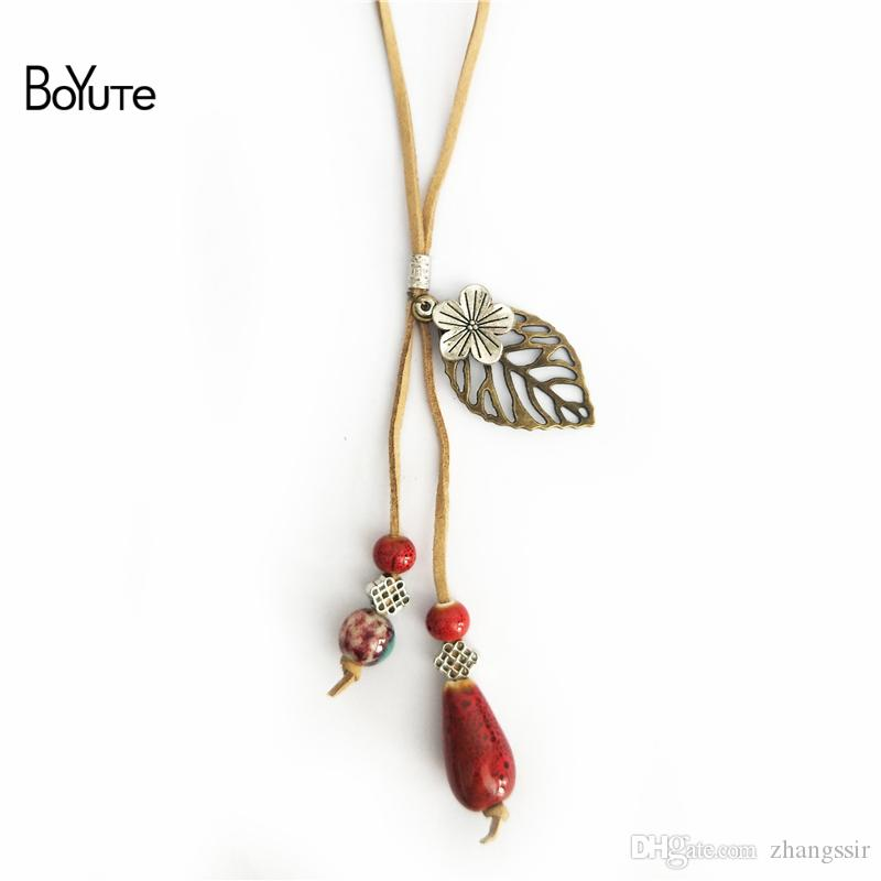 BoYuTe Hot 5Pcs 2 Colors Rope Chain Ceramic Bead Leaf Pendant Vintage Ethnic Necklace Women Jewelry
