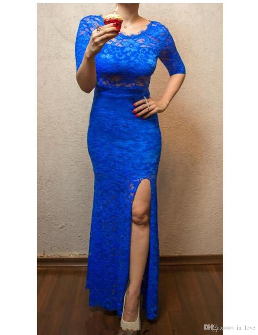 Robes de soirée longues en dentelle bleu royal demi-manches côté gaine fendue étage longueur femmes robes formelles pour occasion spéciale taille personnalisée