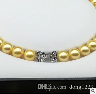 Halloween Nanyang Jinzhu Beizhu madre naturale perla collana di perle 10mm arrotondato moda bowknot fibbia in argento