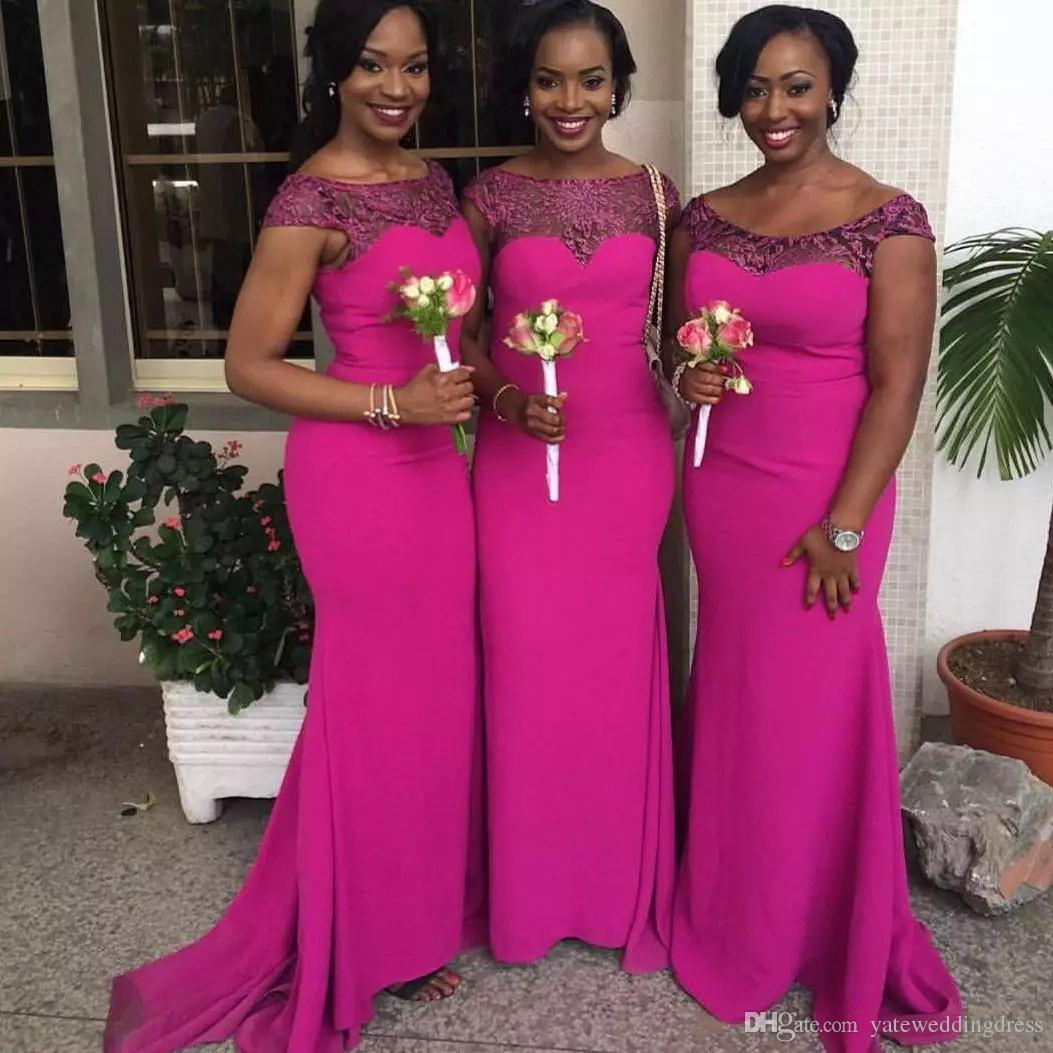 Dark Fuchsia Long Bridesmaid Dresses Scoop Neckline Short Capped Sleeves Wedding Guest Dresses Back Zipper Custom Made Formal Party Gowns