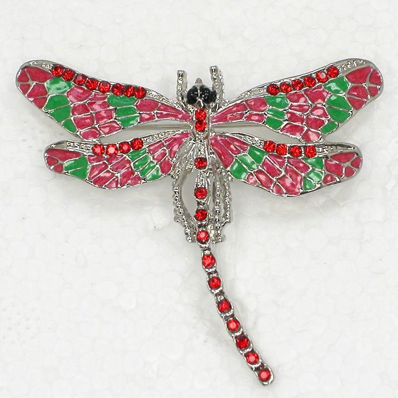 12pcs/lot Wholesale Crystal Rhinestone Enameling Dragonfly Brooch Fashion Costume Pin Brooch C180