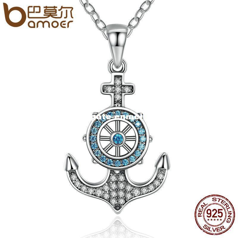 BAMOER 100% стерлингового серебра 925 голубой кристалл якорь руль подвески ожерелья женщины лодка руль ювелирные изделия SCN061