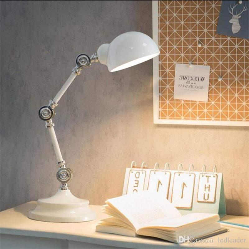 L19-Nordic Style LED Read Lights Metal Robot Table Lamp Swing Arm Desk Reading Lamp High Quality Vintage Bedside Lamp