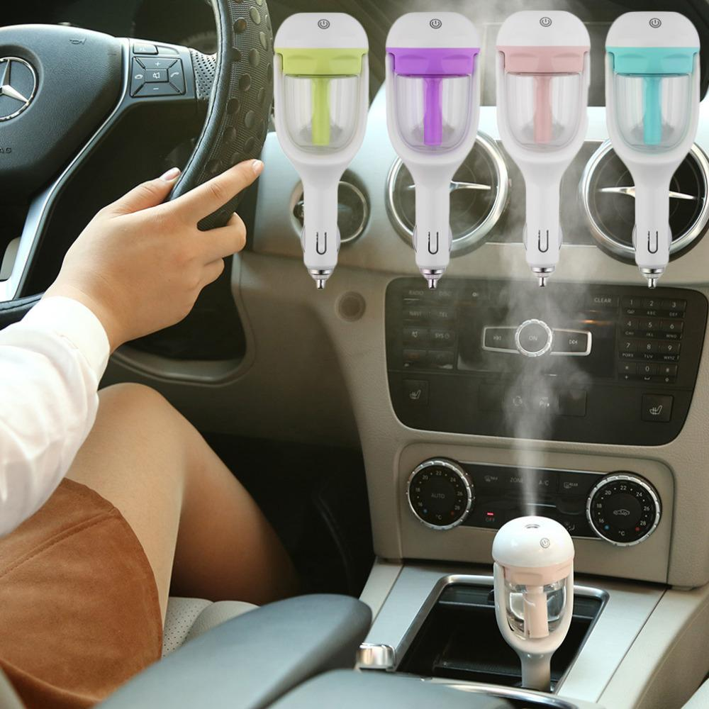 Mini Portable Car Use Air Humidifier Ultrasonic Essential Air Atomizer Diffuser Wave Air Filter Mist Maker Car Charger