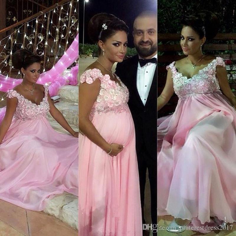Compre Vestido De Noche De Maternidad Rosa 2017 Para Mujeres Embarazadas Vestido De Fiesta Con Apliques De Flores Y Cuentas Lace Up Back Vestidos