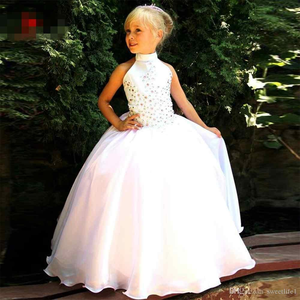 Top Quality Halter Ball Gown Crystals Beaded Flower Girl Dresses Floor Length Sleeveless White Communion Dress for Girls