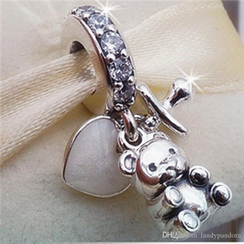 2017 Spring 925 Sterling Silver Baby Treasures Dangle Charm Bead Fits European Pandora Jewelry Bracelets Necklaces & Pendant