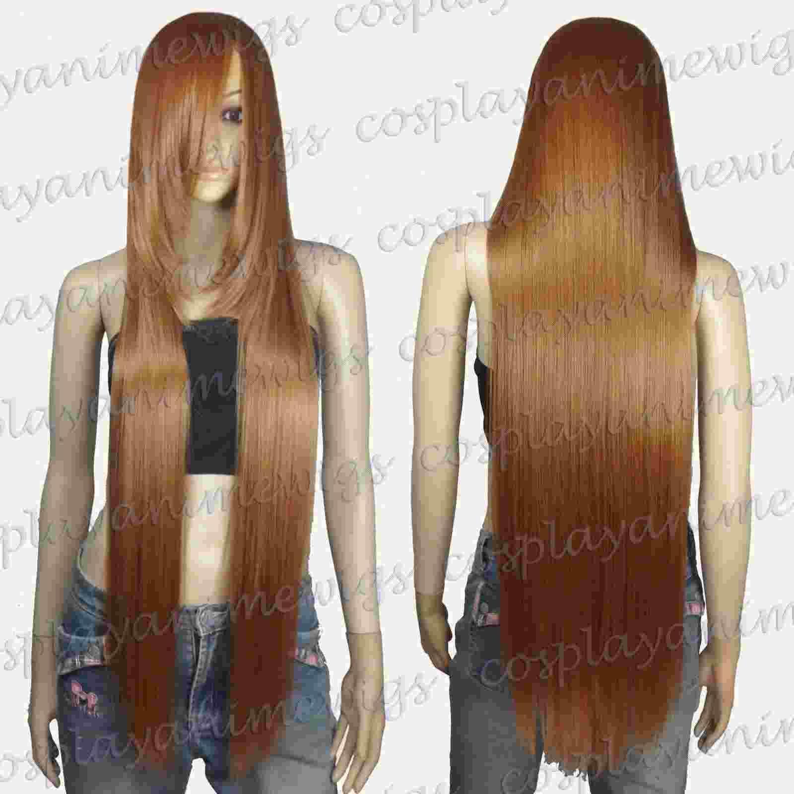 Parrucche lunghe 100% parrucche sintetiche di colore marrone chiaro