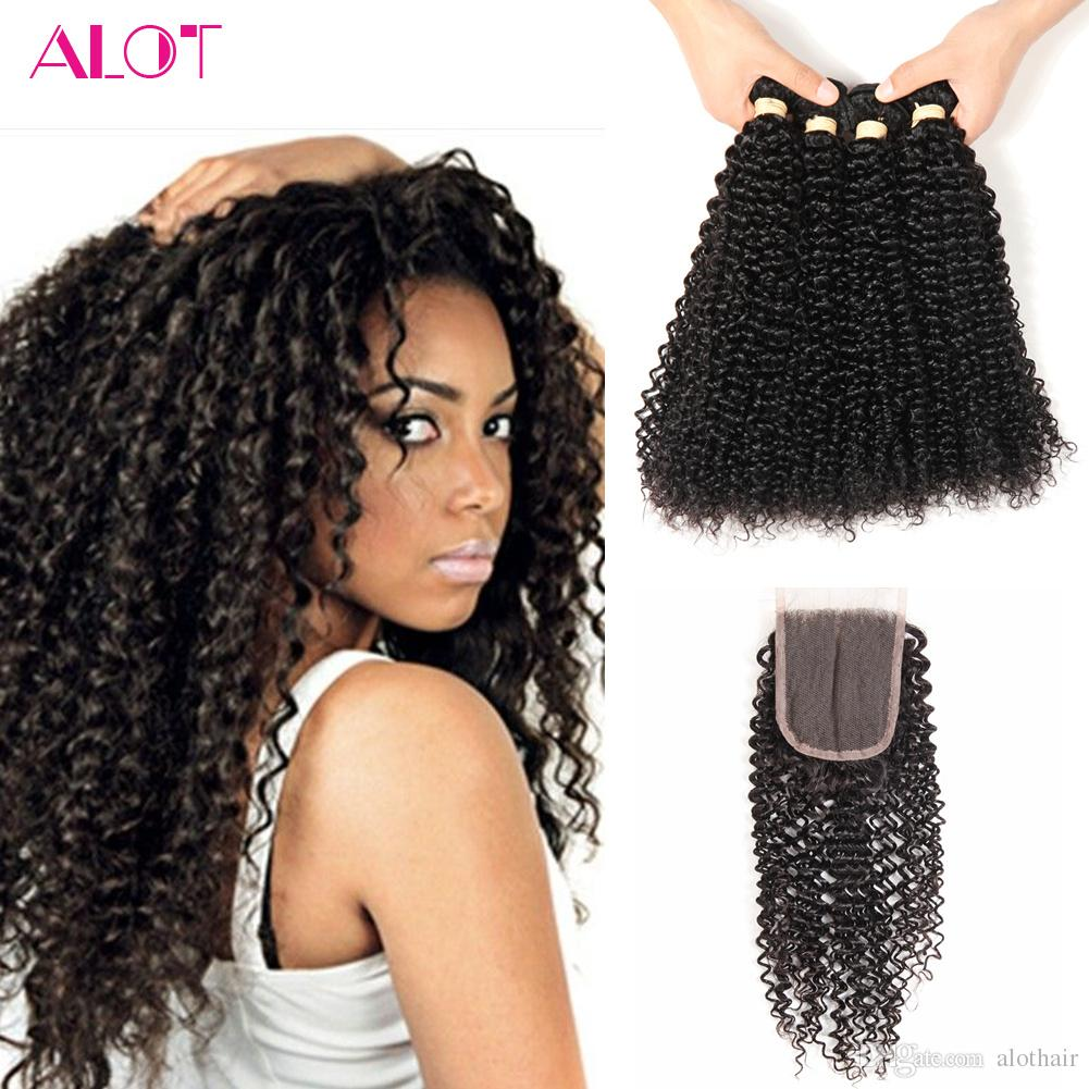 Brazilian Virgin Human Hair Lace Closure 4 Bundles Kinky Curly Hair with Closures 100% Unprocessed Brazilian Bundles with Closure