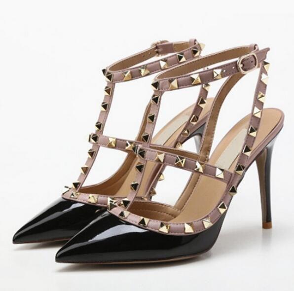 Designer Pointed Toe 2 Strap Studs High