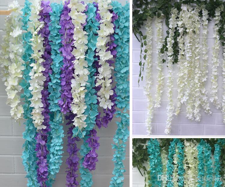 2 متر طويل سوبر طويل الحرير الاصطناعي زهرة الكوبية الوستارية جارلاند لحديقة المنزل لوازم الزفاف الديكور 6 الألوان المتاحة