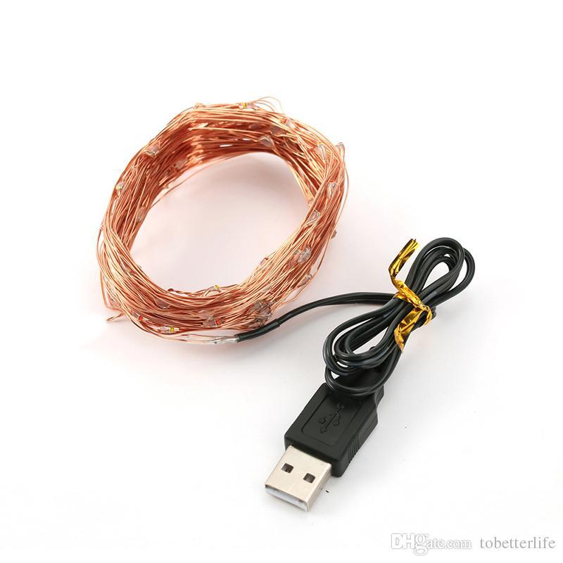 مرنة USB الأسلاك النحاسية أدت سلسلة أضواء 5V الشريط للماء أضواء WW TW عيد الميلاد حفل زفاف عيد الميلاد دراجة الديكور