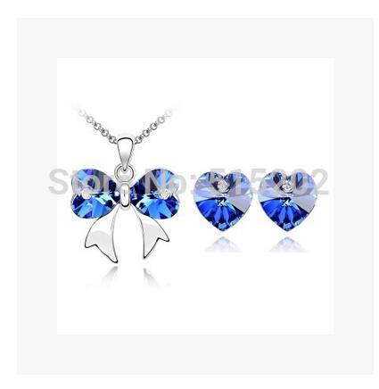 Arbeiten Sie Kristallschmucksache-gesetzte Charme-Schmetterlings-Schmucksachen / Halskette + Ohrringe edlen Schmuck für Frauen LM-S105