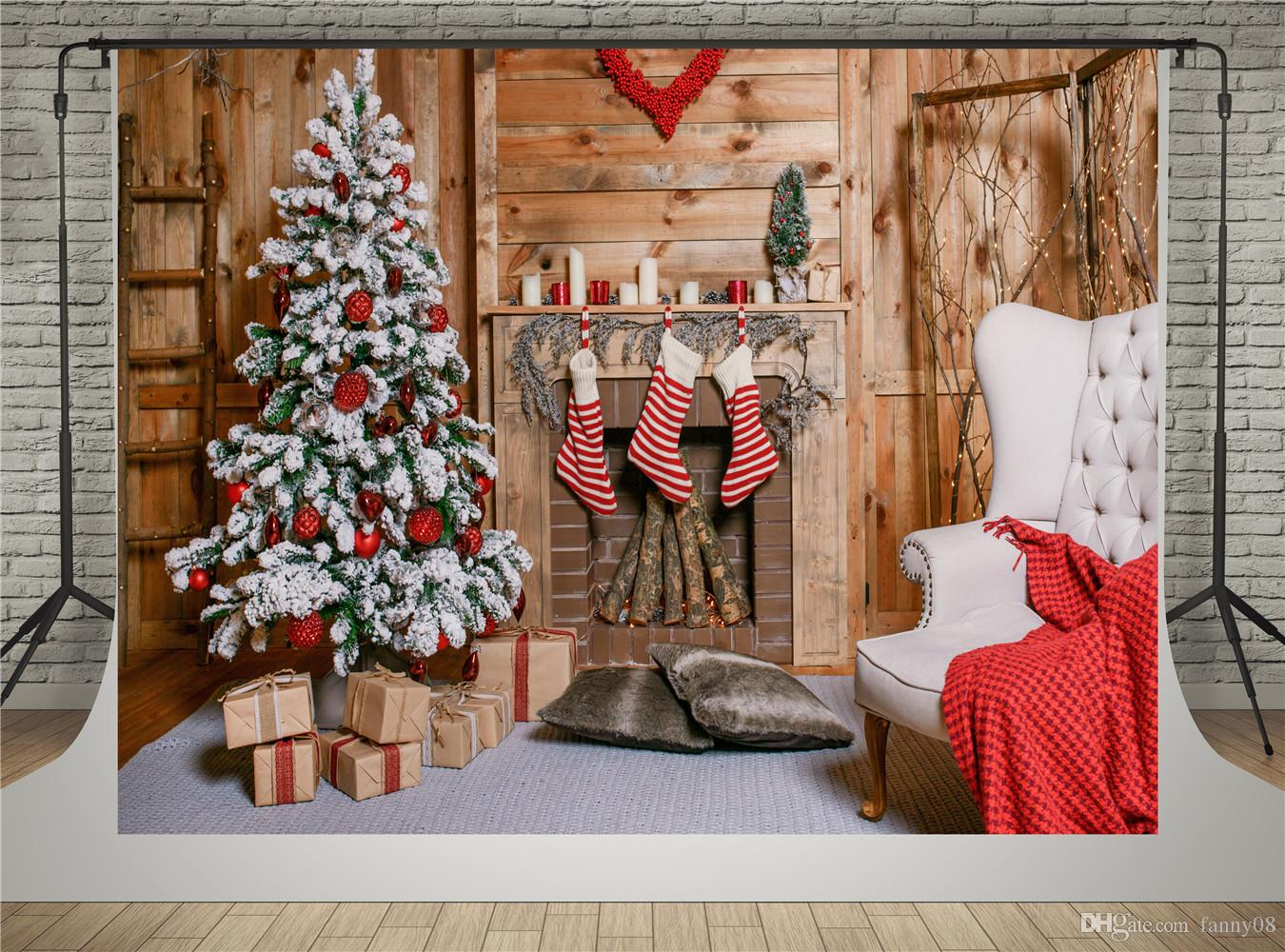 Cenários de Lareira para Fotografia Casa de Madeira Árvore de Natal Verde Fundo Foto Cobertor De Pano De Fundo Vermelho Photo Booth