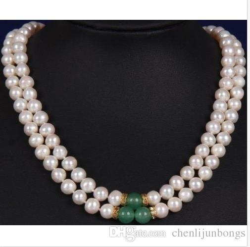 Fashion 2Rows 8-9mm White/&black Akoya Pearl Necklace AAA