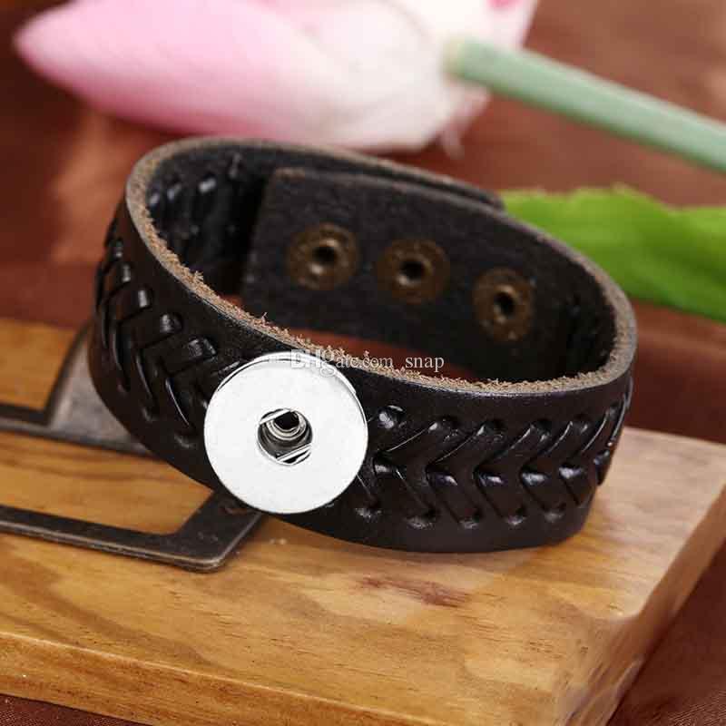 Braccialetto di cuoio genuino del braccialetto genuino di fascino del braccialetto di fascino dello zenzero 18mm di Goffratura all'ingrosso di fashiong del braccialetto Noosa per le donne