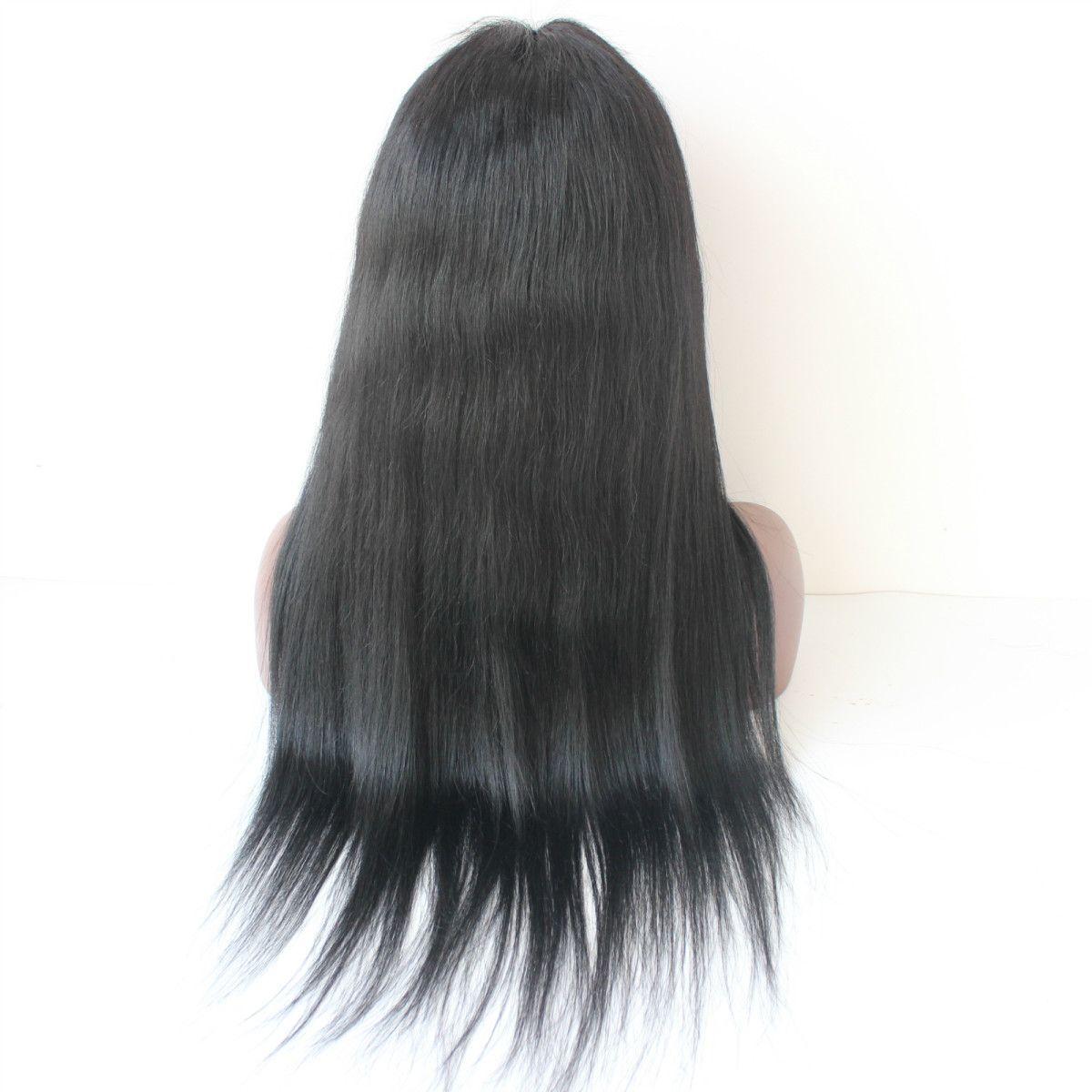 peluca del pelo densidad espesa densidad de 300 pelucas delanteras del pelo humano brasileño sin cola recta de encaje con flecos chinos para las mujeres negras peluca de cabello humano