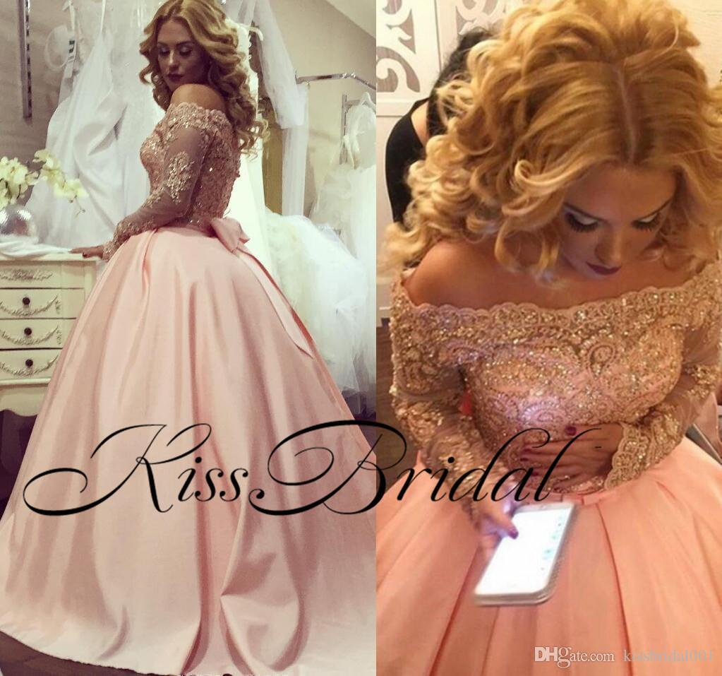 Blush Pink Lace Prom Dresses Spitze mit langen Ärmeln Big Ballkleid Bateau Neck Formal Girls Pageant Dresses